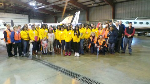 Grace chapter teenshop group at the airfield